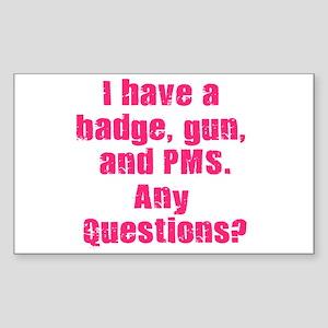 Policewoman PMS Rectangle Sticker