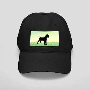 Grassy Field Schnauzer Dog Black Cap