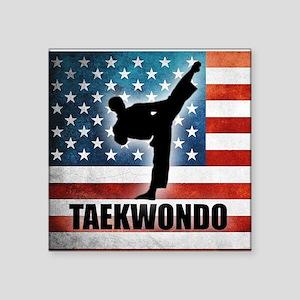"Taekwondo fighter USA Ameri Square Sticker 3"" x 3"""