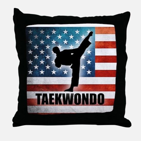 Taekwondo fighter USA American Flag Throw Pillow