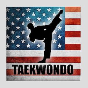Taekwondo fighter USA American Flag Tile Coaster