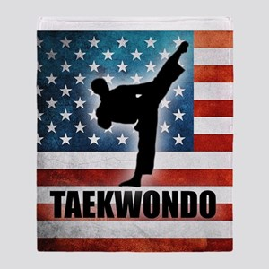 Taekwondo fighter USA American Flag Throw Blanket