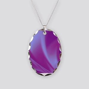 Veils of Purple Fractal Necklace Oval Charm