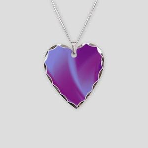 Veils of Purple Fractal Necklace Heart Charm