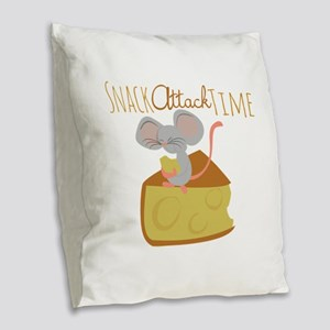Snack Attack Time Burlap Throw Pillow