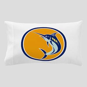 Blue Marlin Fish Jumping Circle Retro Pillow Case