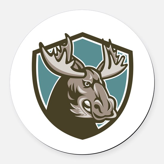 Angry Moose Mascot Shield Round Car Magnet