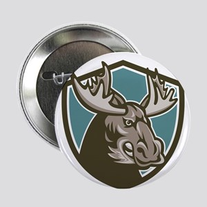 """Angry Moose Mascot Shield 2.25"""" Button (10 pack)"""