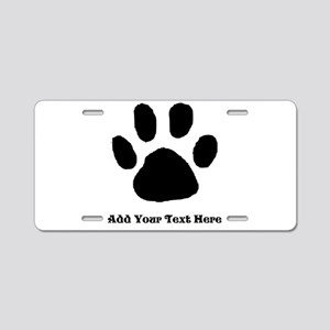 Paw Print Template Aluminum License Plate