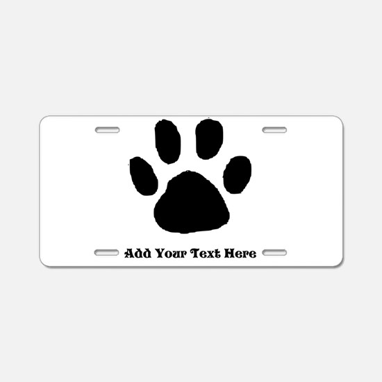 Paw Print Template Aluminum License Plate