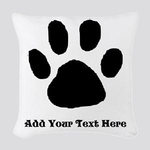 Paw Print Template Woven Throw Pillow