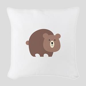 Brown Bear Woven Throw Pillow