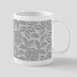 Engraved Roses - Silver Gray Mug