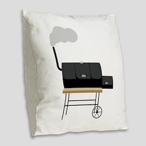 Barbeque Smoker Burlap Throw Pillow