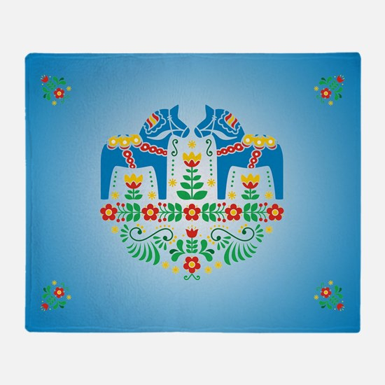Swedish Dala Horse Throw Blanket