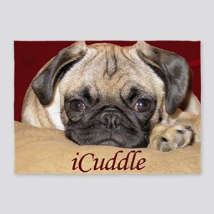 Adorable iCuddle Pug Puppy 5'x7'Area Rug