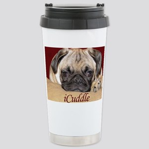 Adorable iCuddle Pug Pu Stainless Steel Travel Mug