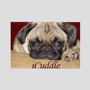 Adorable iCuddle Pug Puppy Rectangle Magnet
