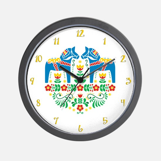 Swedish Dala Horse Wall Clock