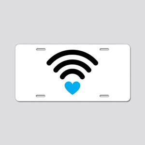 Wifi Heart Aluminum License Plate