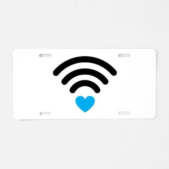 Wifi Heart Aluminum License Plate