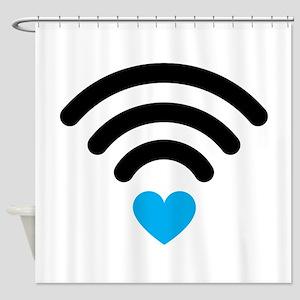 Wifi Heart Shower Curtain