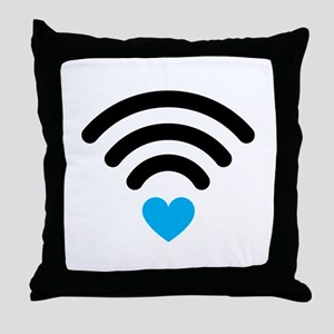 Wifi Heart Throw Pillow
