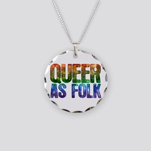 Rainbow Queer as Folk Necklace Circle Charm