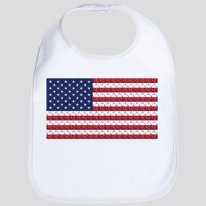 Bones and Heart Prints American Flag Bib