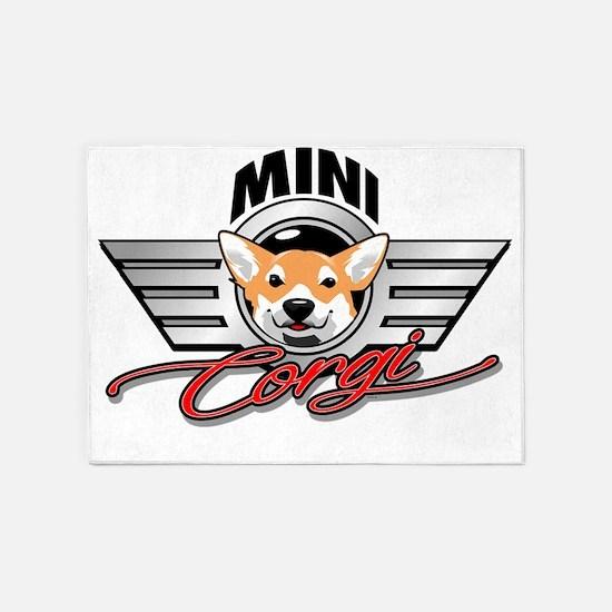 Mini Corgi Club 5'x7'Area Rug