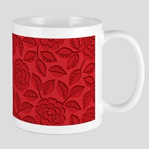 Engraved Roses - Red Mug