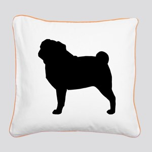 Pug Silhouette Square Canvas Pillow