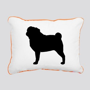 Pug Silhouette Rectangular Canvas Pillow