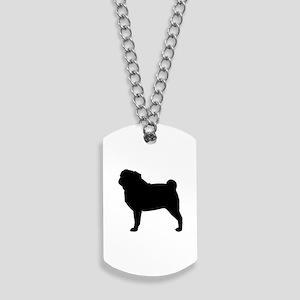 Pug Silhouette Dog Tags