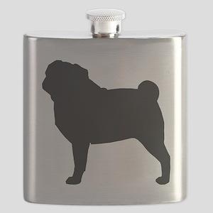 Pug Silhouette Flask