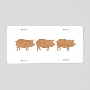 Wooden Pig Border Aluminum License Plate