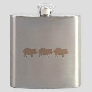 Wooden Pig Border Flask