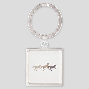 Wild Horses Running Keychains