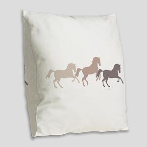Wild Horses Running Burlap Throw Pillow