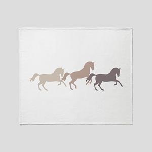 Wild Horses Running Throw Blanket
