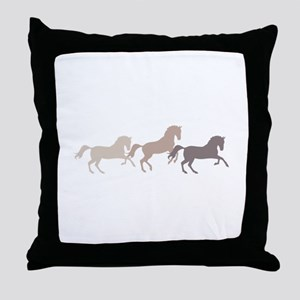 Wild Horses Running Throw Pillow