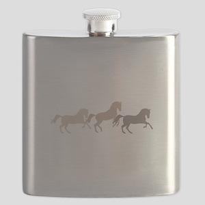 Wild Horses Running Flask