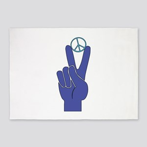 Peace Sign 5'x7'Area Rug