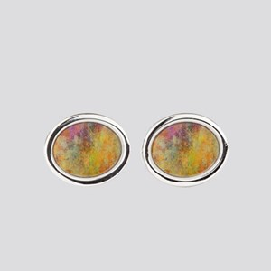 Pink, Purple and Gold Abstract Desi Oval Cufflinks