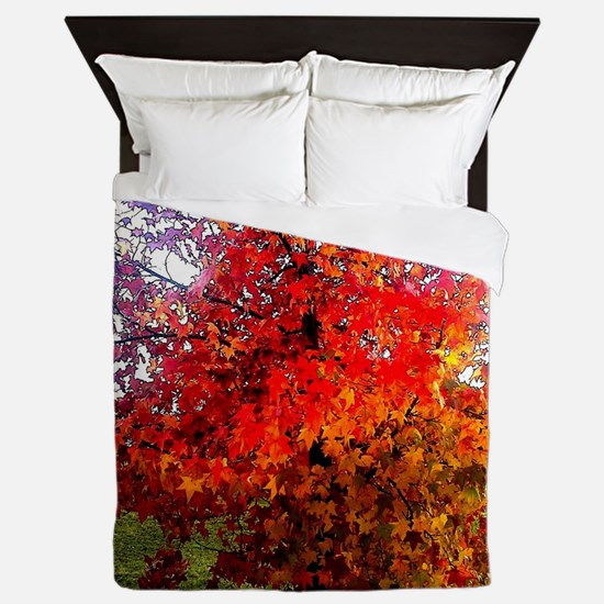 Fall, Autumn, Leaves, nature, red, ora Queen Duvet