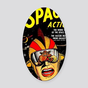 Vintage Space Action Comic Cover S Oval Car Magnet