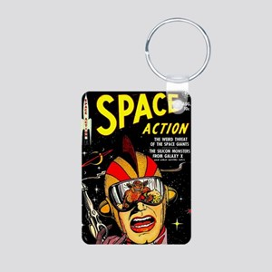 Vintage Space Action Comic Aluminum Photo Keychain