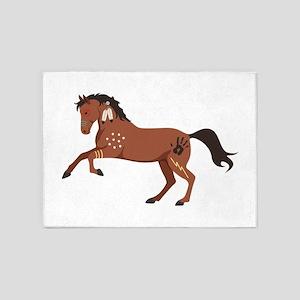 Native American War Horse 5'x7'Area Rug