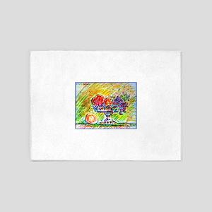 Fruit bowl! Colorful art! 5'x7'Area Rug