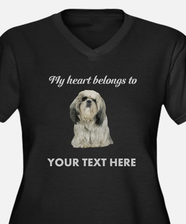 Personalized Women's Plus Size V-Neck Dark T-Shirt